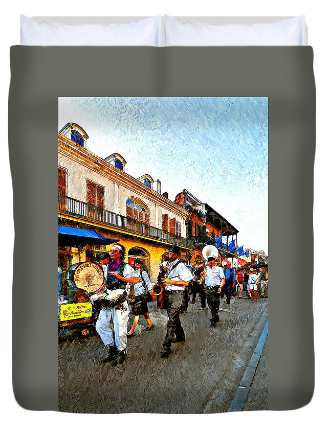 French Quarter Duvet Cover featuring the photograph Jazz Funeral II by Steve Harrington