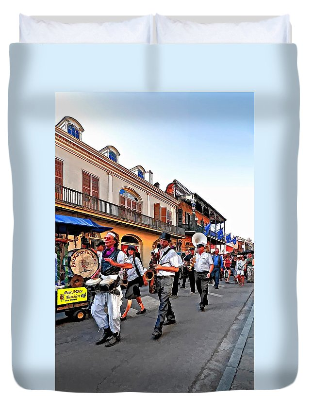 French Quarter Duvet Cover featuring the photograph Jazz Funeral by Steve Harrington