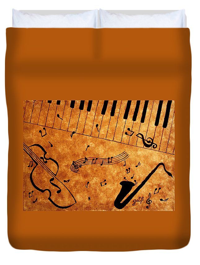 Abstract Jazz Music Duvet Cover featuring the painting Jazz Music Coffee Painting by Georgeta Blanaru
