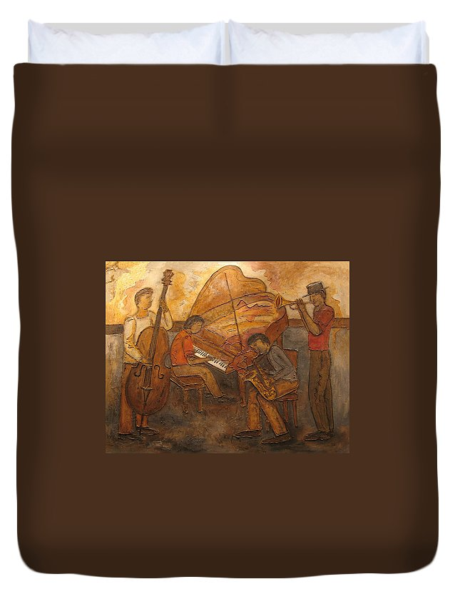 Impressionist Duvet Cover featuring the painting Jazz Quartet by Anita Burgermeister