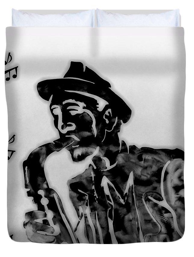 Jazz Saxophone Music Duvet Cover featuring the digital art Jazz Saxophone Man by Dan Sproul