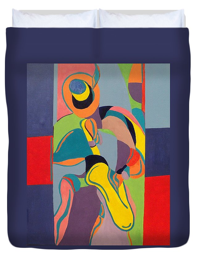 Jazz Duvet Cover featuring the painting Jazzamatazz Saxophone by Angelo Thomas