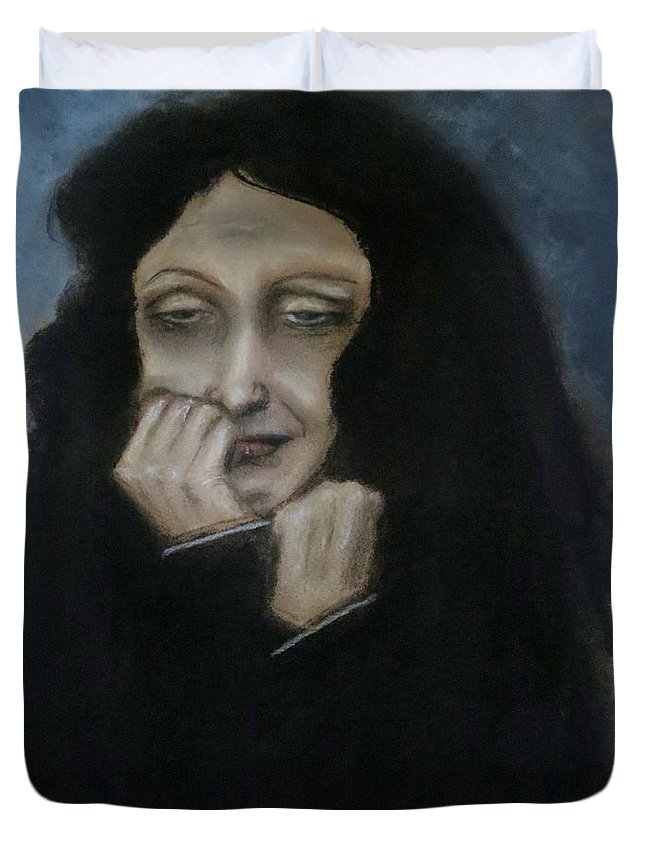 Edith Piaf Duvet Cover featuring the painting Je Ne Regrette Rien by C Pichura
