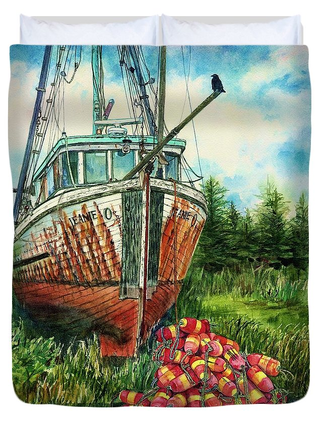 Cynthia Pride Watercolor Paintings Duvet Cover featuring the painting Jeanie O And The Crow by Cynthia Pride