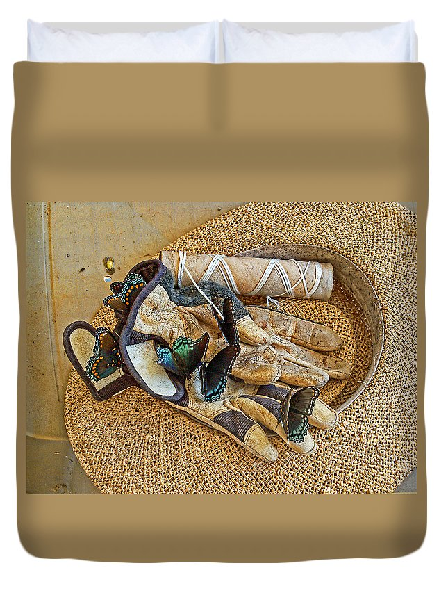 Butterflies Duvet Cover featuring the photograph Jean's Butterflies by Larry Bishop