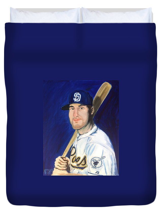 Jedd Duvet Cover featuring the painting Jedd Gyorko by Jeremy Nash