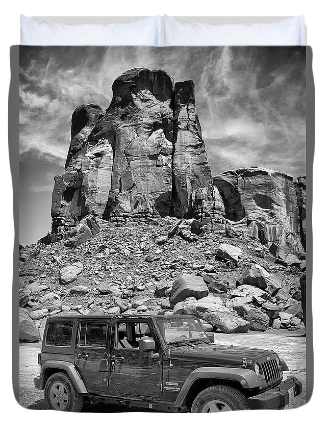 Jeep Duvet Cover featuring the photograph Jeep...it's A State Of Mind by Debby Richards