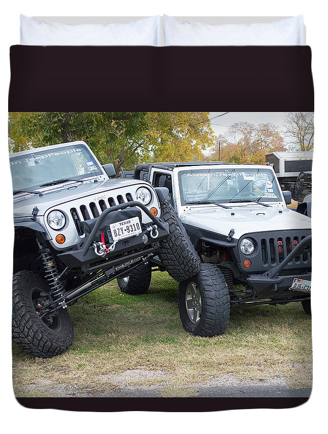Leander Car Show Duvet Cover featuring the photograph Jeeps In Juxtaposition by JG Thompson
