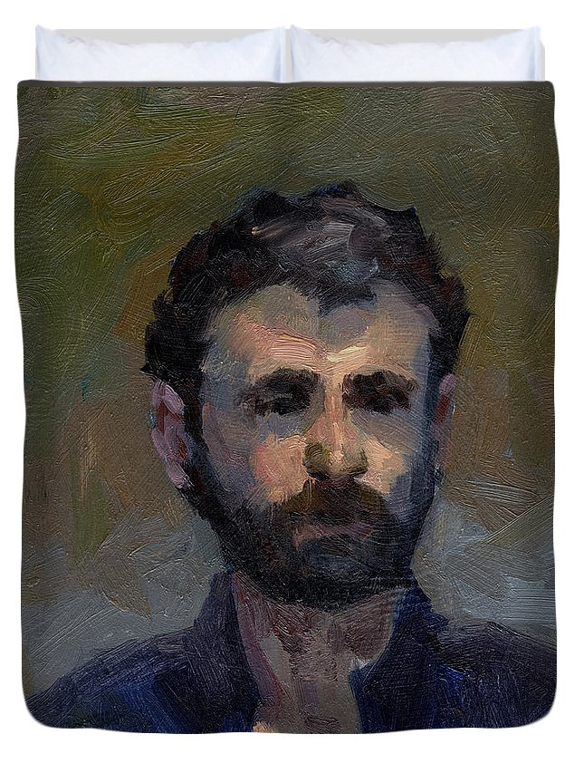 Jeff Duvet Cover featuring the painting Jeff by Diane McClary