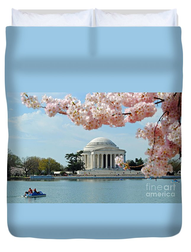 Cherry Duvet Cover featuring the photograph Jefferson Bloom by Jost Houk