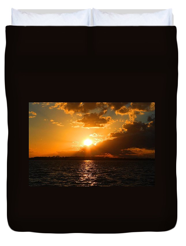 Jekyll Duvet Cover featuring the photograph Jekyll Sunset by Kathryn Meyer