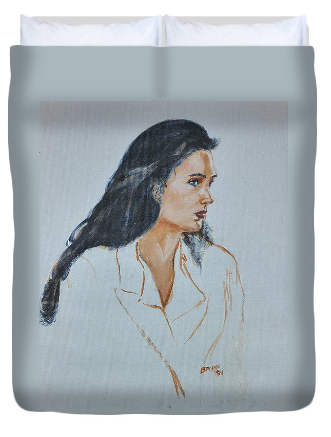 Jennifer Connelly Duvet Cover featuring the painting Jennifer Connelly by Bryan Bustard