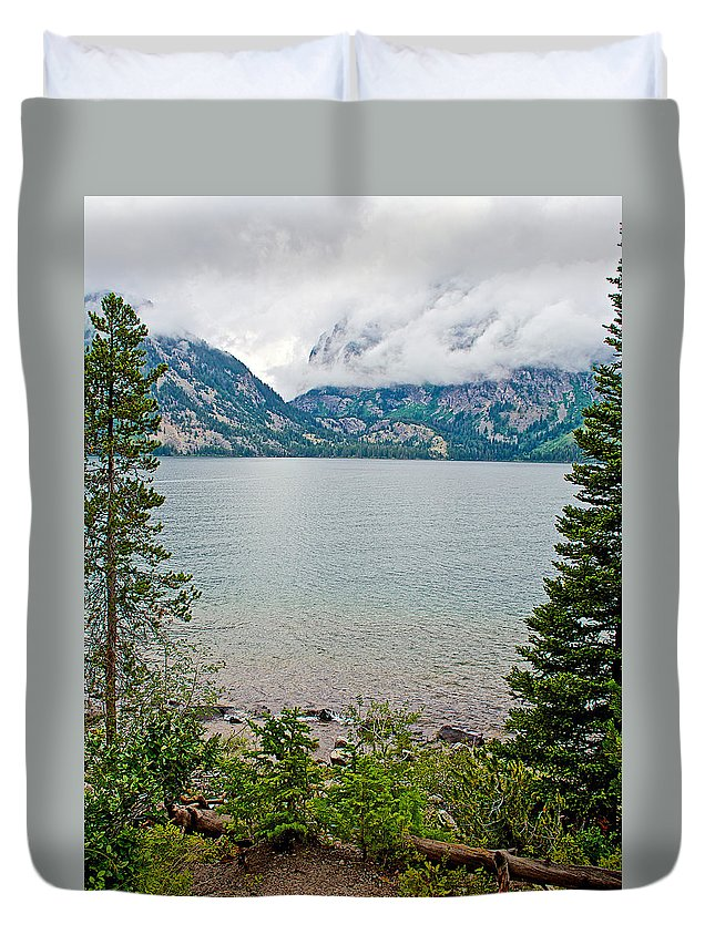 Jenny Lake In Grand Teton National Park Duvet Cover featuring the photograph Jenny Lake In Grand Tetons National Park-wyoming by Ruth Hager