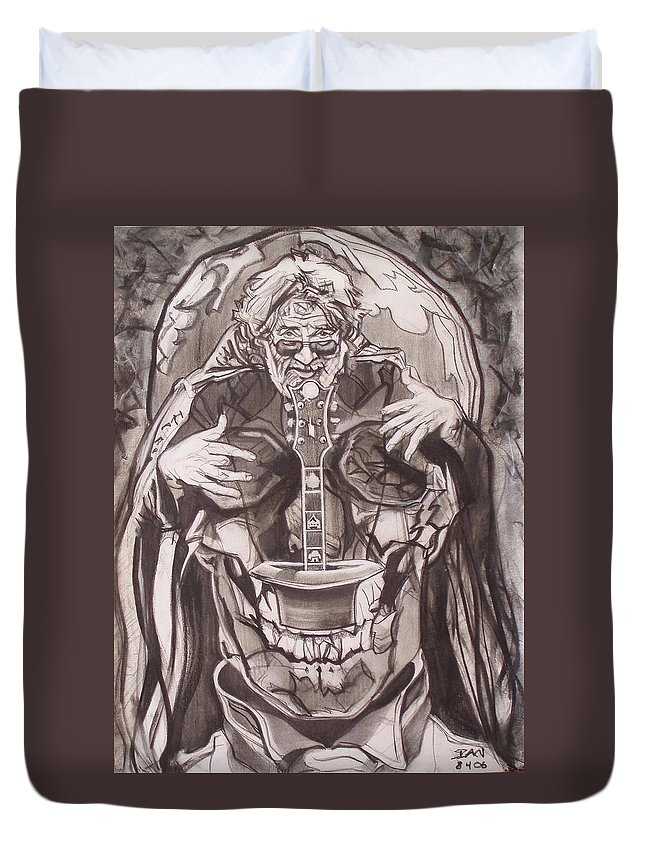 Charcoal Duvet Cover featuring the drawing Jerry Garcia . . Magic Is What We Do - Music Is How We Do It by Sean Connolly