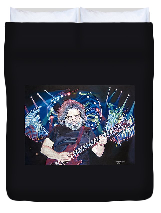 Jerry Garcia Duvet Cover featuring the drawing Jerry Garcia And Lights by Joshua Morton