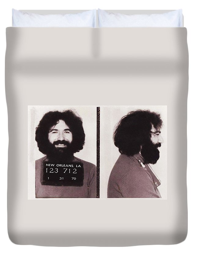Jerry Duvet Cover featuring the photograph Jerry Garcia Mugshot by Digital Reproductions