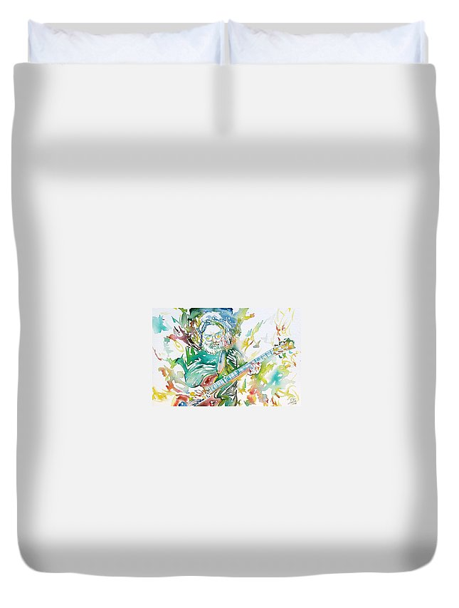 Jerry Duvet Cover featuring the painting Jerry Garcia Playing The Guitar Watercolor Portrait.1 by Fabrizio Cassetta