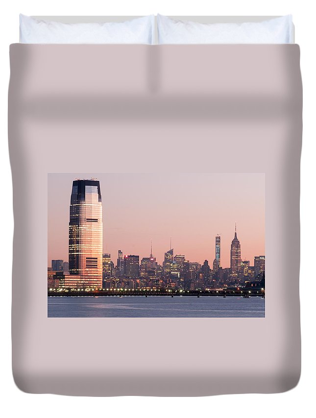 Newark Duvet Cover featuring the photograph Jersey City And New York City With Manhattan Skyline Over Hudso by Alex Grichenko