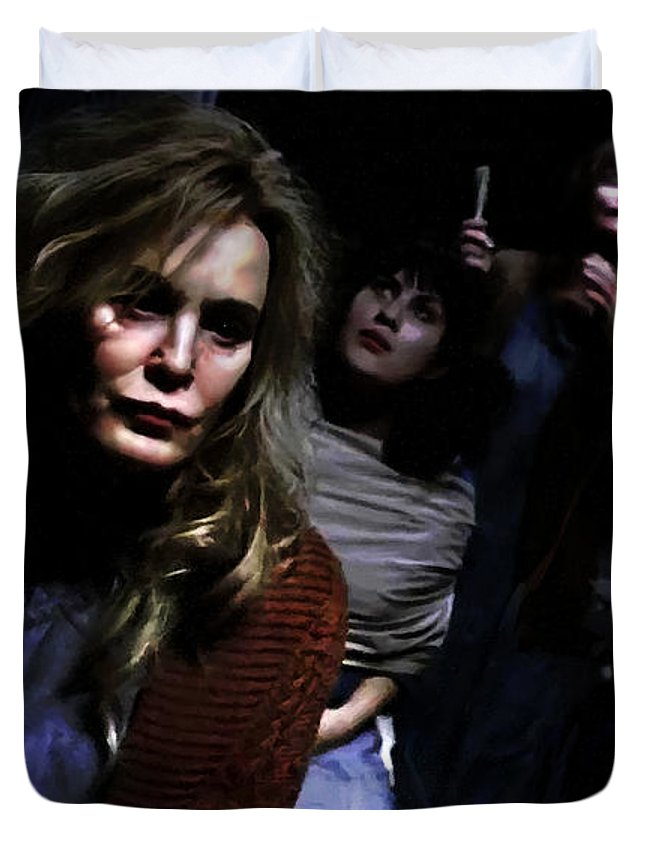 American Horror Story: Asylum Duvet Cover featuring the digital art Jessica Lange as Sister Jude @ TV serie American Horror Story Asylum by Gabriel T Toro
