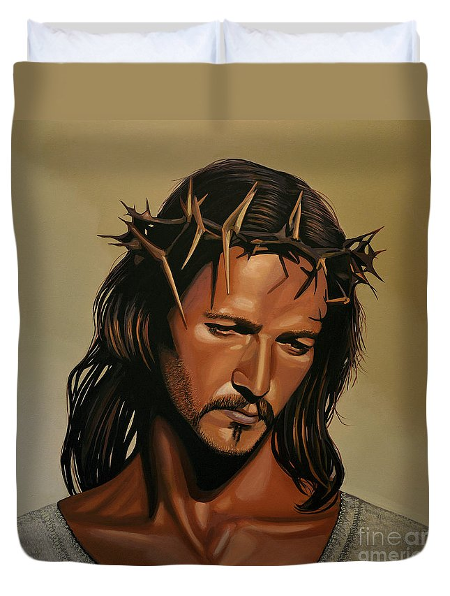Jesus Christ Duvet Cover featuring the painting Jesus Christ Superstar by Paul Meijering