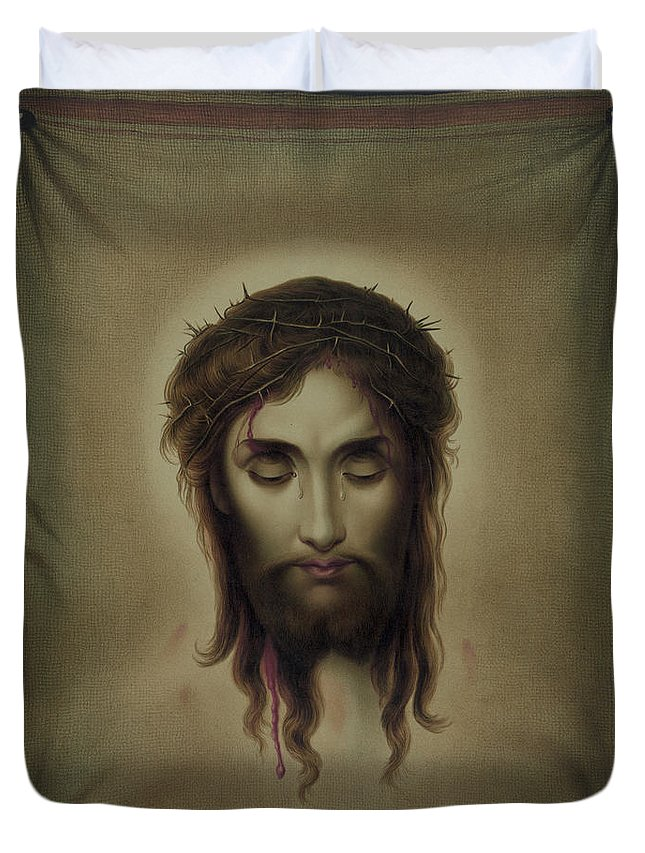 Jesus Duvet Cover featuring the painting Jesus Christus Portrait By Martie Circa 1876 by George Pedro