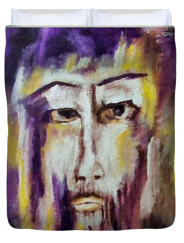 Sacred Duvet Cover featuring the mixed media Jesus by Dragica Micki Fortuna