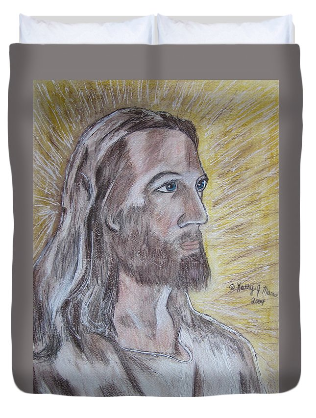 Jesus Duvet Cover featuring the painting Jesus by Kathy Marrs Chandler