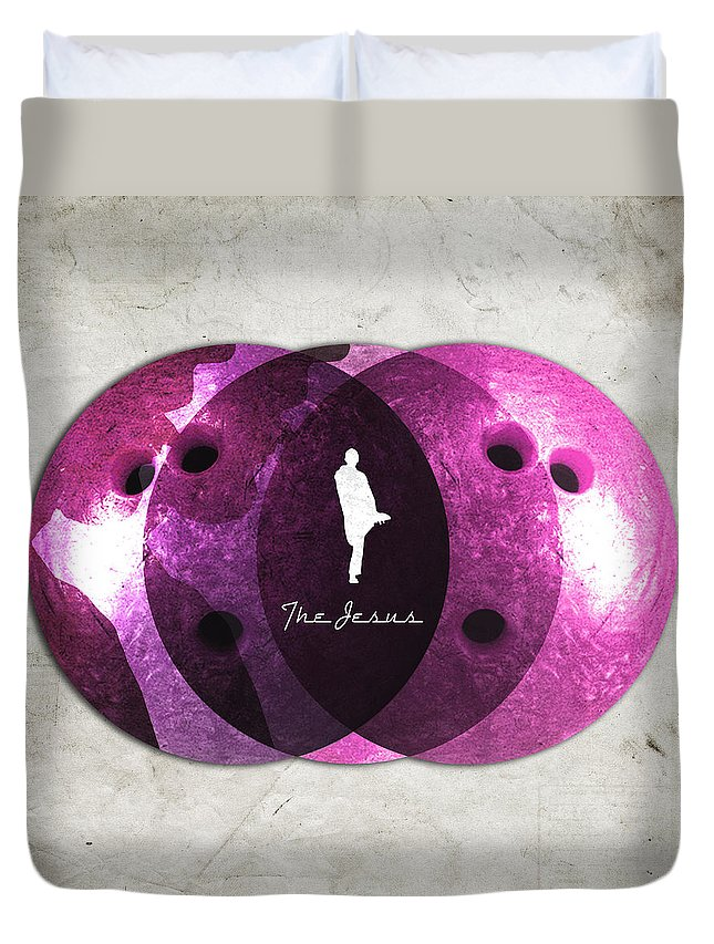 Jesus Duvet Cover featuring the digital art Jesus Quintana Bowiling by Filippo B