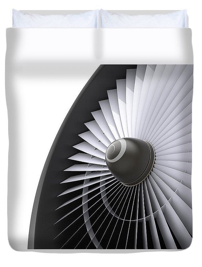 Engine Duvet Cover featuring the photograph Jet Turbine by Klenger