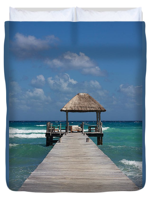 America Duvet Cover featuring the photograph Jetty With Beach Hut by Jannis Werner