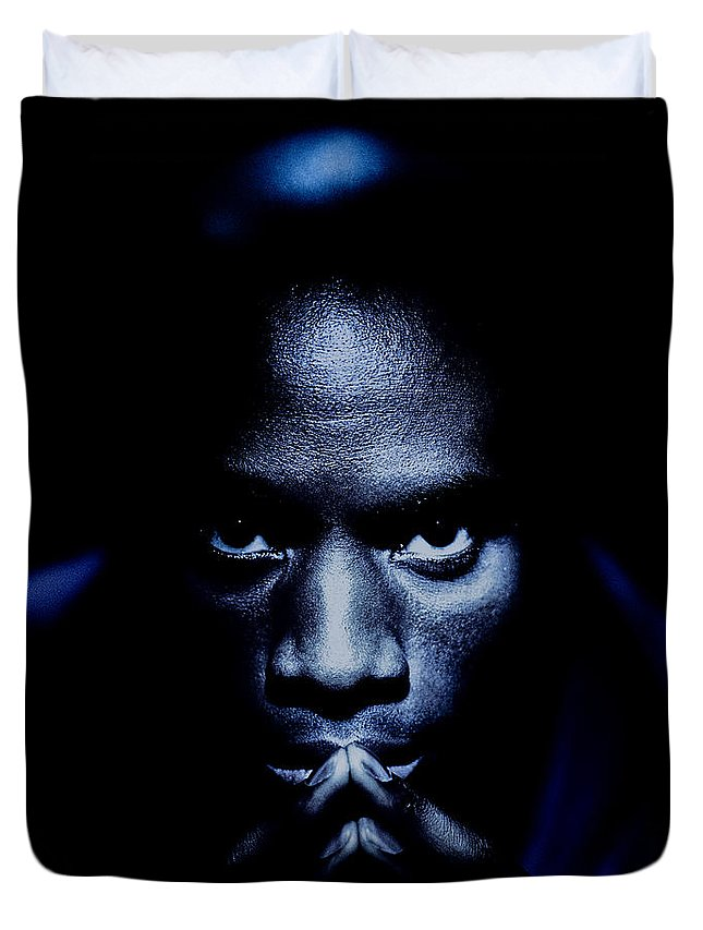 African-american Duvet Cover featuring the photograph Jevon Blue by YoPedro