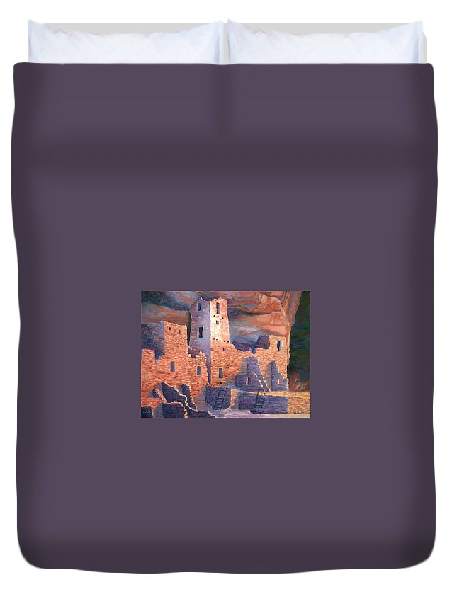 Mesa Duvet Cover featuring the painting Jewel of Mesa Verde by Jerry McElroy