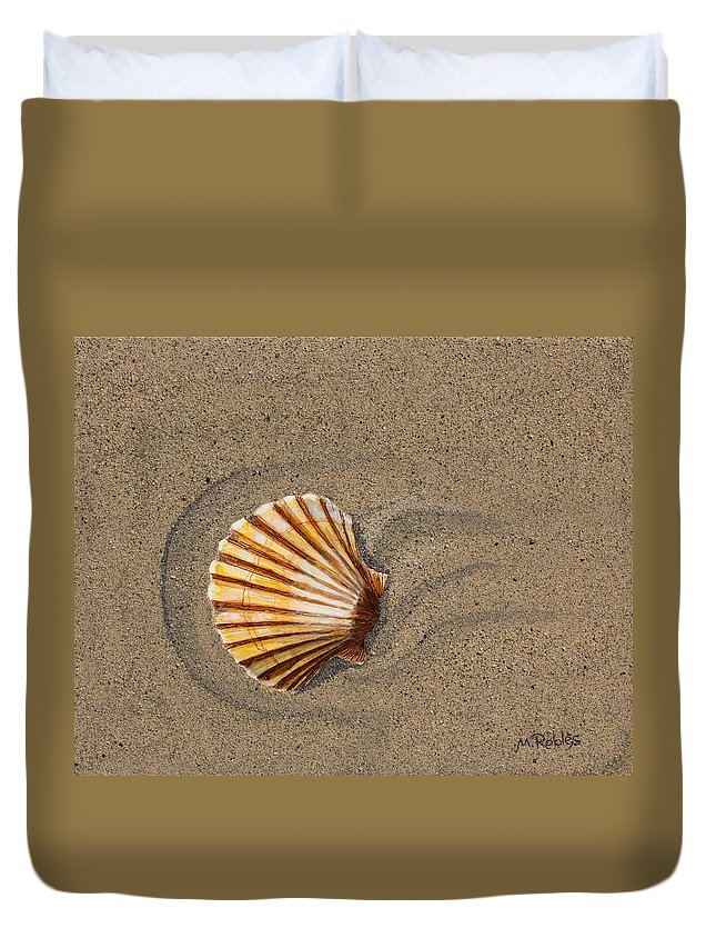 Sand Duvet Cover featuring the painting Jewel On The Beach II by Mike Robles