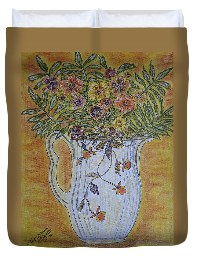 Jewel Tea Duvet Cover featuring the painting Jewel Tea Pitcher With Marigolds by Kathy Marrs Chandler