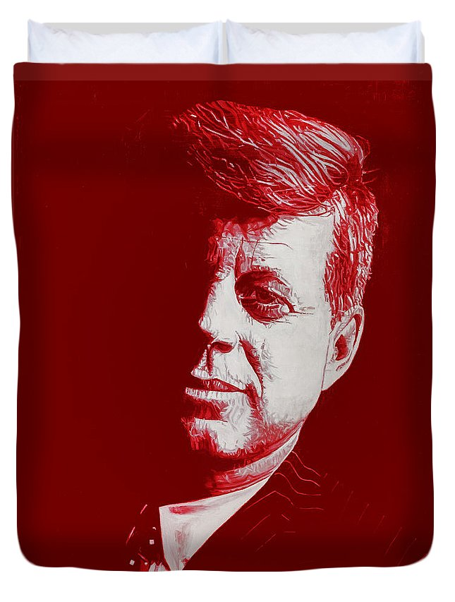 American Duvet Cover featuring the painting Jfk - Red by Joe Ciccarone