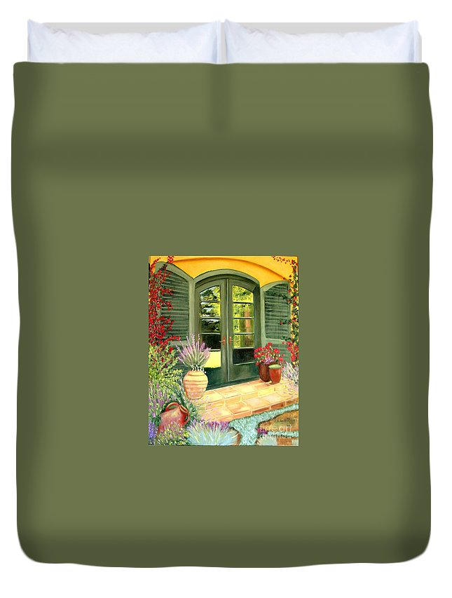 Shutters Duvet Cover featuring the painting Jill's Patio by Laurie Morgan