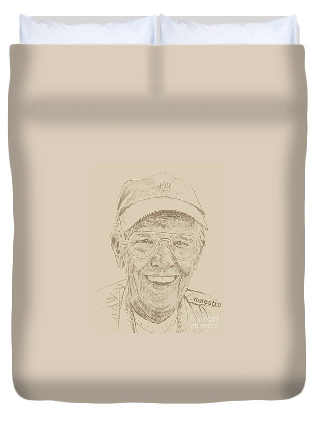 Memory Care Duvet Cover featuring the drawing JIM by PainterArtist FIN