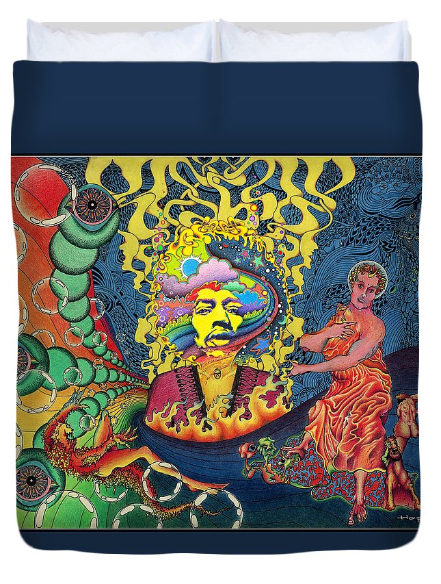 Psychedelic Duvet Cover featuring the painting Jimi Hendrix Rainbow Bridge by Jeff Hopp