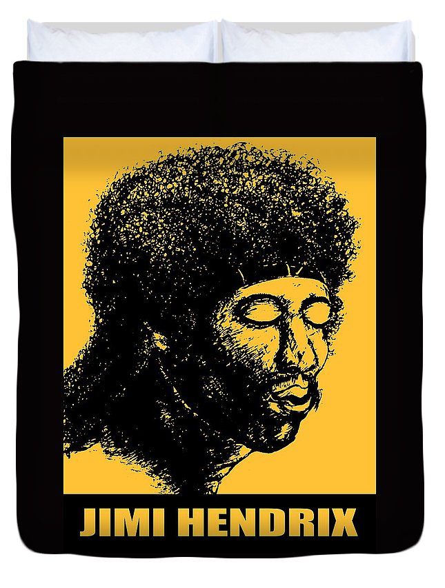 Jimi+hendrix Duvet Cover featuring the drawing Jimi Hendrix Rock Music Poster by Peter Potter
