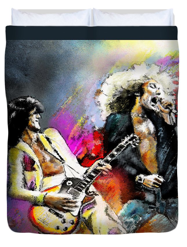 Musicians Duvet Cover featuring the painting Jimmy Page And Robert Plant Led Zeppelin by Miki De Goodaboom