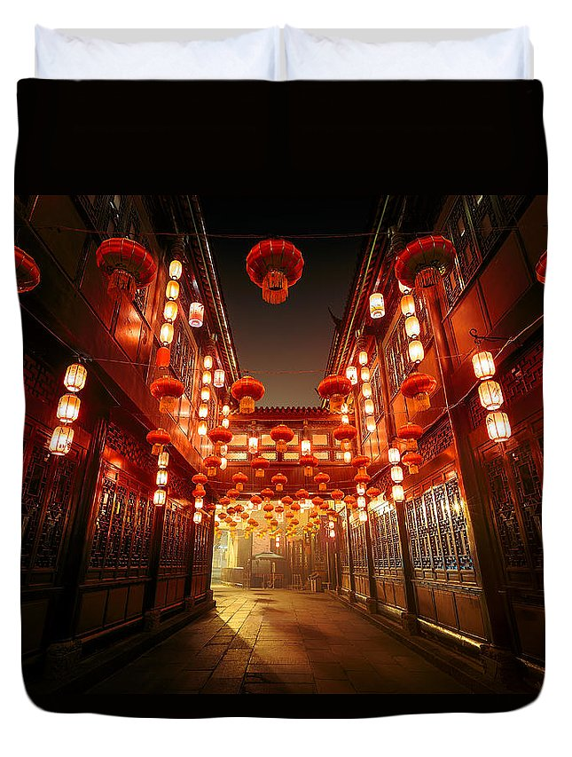 Chinese Culture Duvet Cover featuring the photograph Jinli Street, Chengdu, Sichuan, China by Kiszon Pascal