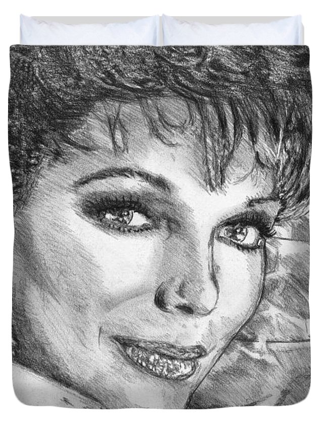 Joan Collins Duvet Cover featuring the drawing Joan Collins In 1985 by J McCombie
