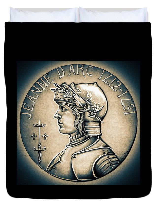 Coin Duvet Cover featuring the drawing Joan Of Arc - Middle Ages by Fred Larucci