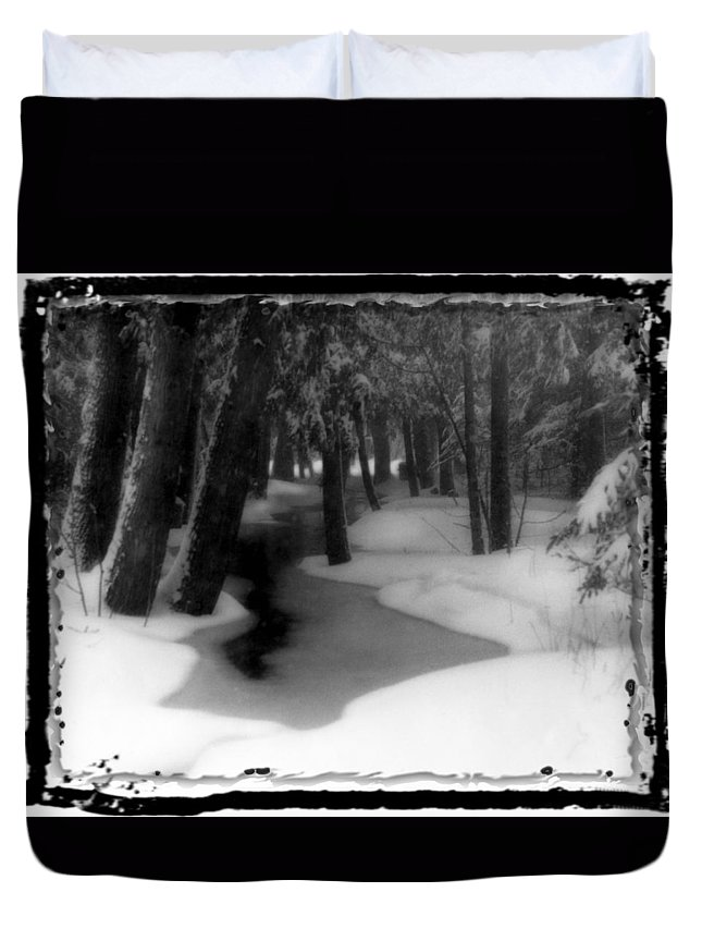 Winter Duvet Cover featuring the photograph Job's Winter Stream by Eric Benjamin