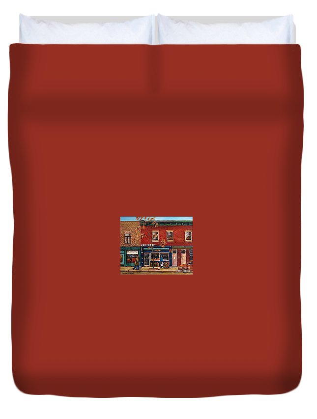 Montreal Duvet Cover featuring the painting Joe Beef Restaurant Montreal by Carole Spandau