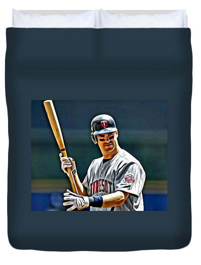 Mlb Duvet Cover featuring the painting Joe Mauer Painting by Florian Rodarte