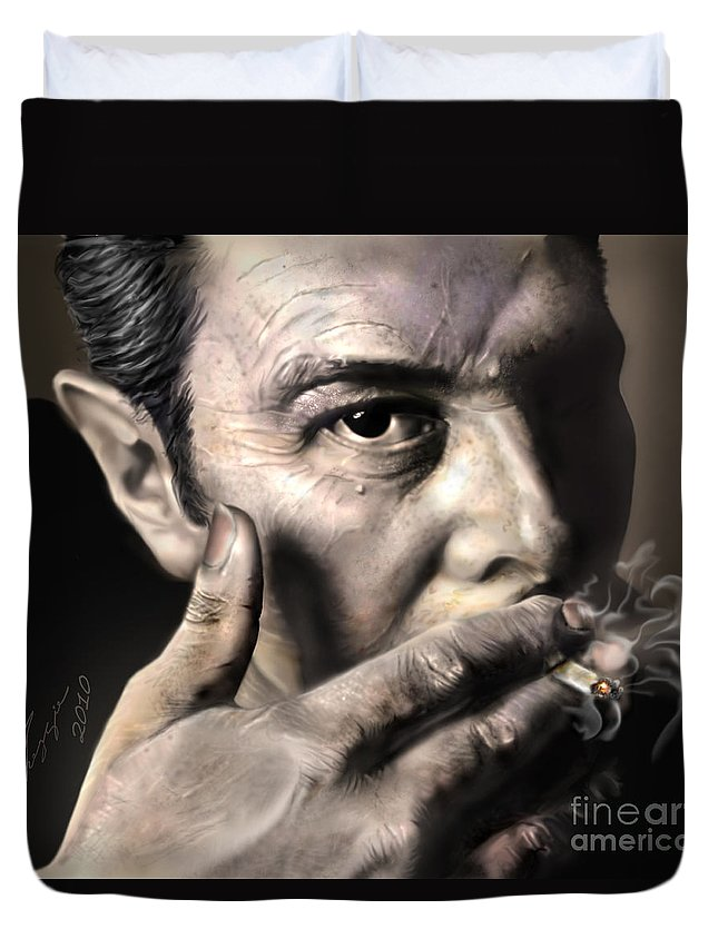 The Clash Duvet Cover featuring the painting Joe Strummer-burning Lights by Reggie Duffie