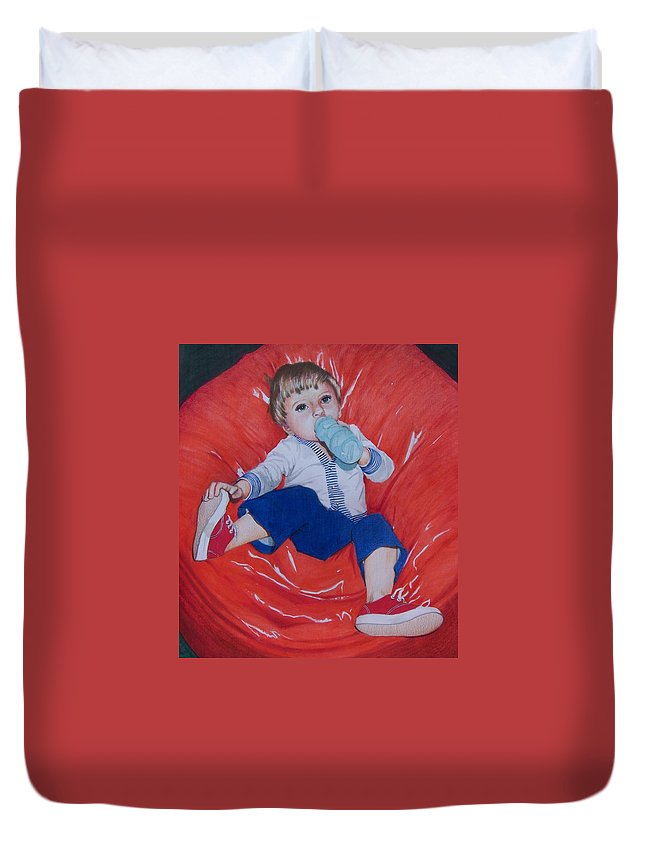 Boy Duvet Cover featuring the mixed media Joey by Constance Drescher