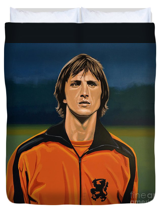 Johan Cruijff Duvet Cover featuring the painting Johan Cruyff Oranje by Paul Meijering