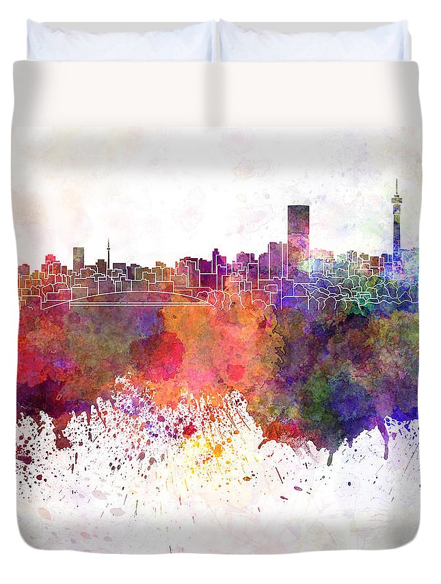 Johannesburg Skyline Duvet Cover featuring the painting Johannesburg Skyline In Watercolor Background by Pablo Romero